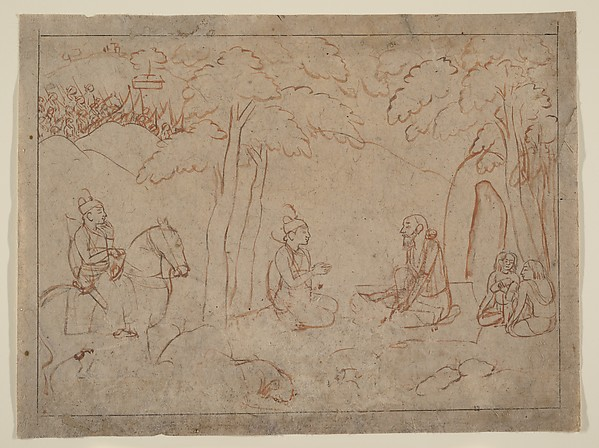 Rama and Lakshmana Visit the Hermitage of an Ascetic, Attributed to a first-generation master after Nainsukh (active ca. 1735–78), Red ochre and wash on paper, India (Pahari Hills, Guler or Kangra)