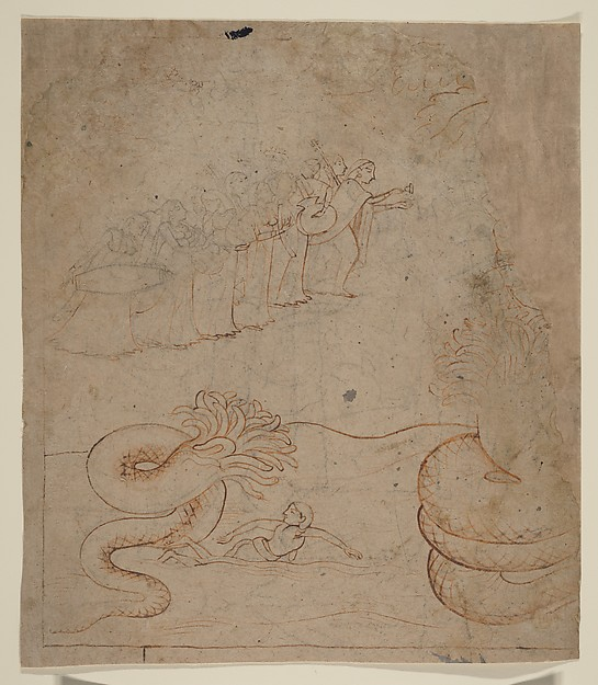Krishna Subdues the Serpent Kaliya in the Yamuna River: Illustration from a Bhagavata Purana Series, Attributed to a follower of Nainsukh (active ca. 1735–78), Ink and wash on paper, India (Pahari Hills, Guler or Kangra)