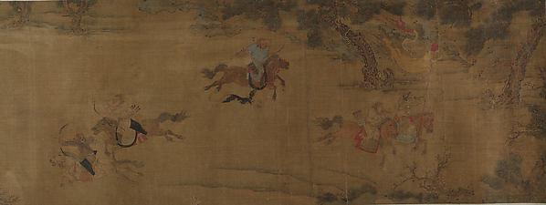 Tartar Huntsman, Unidentified Artist, Handscroll; ink and color on silk, China