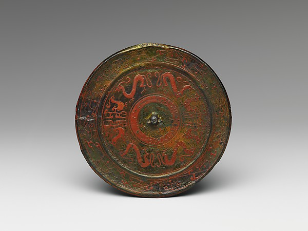 Mirror with Dragon and Phoenix Motifs, Bronze painted with lacquer, China