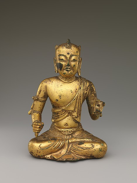 Manjushri,  Bodhisattva of Wisdom, with Five Knots of Hair (Wuji Wenshu), Gilt bronze; lost-wax cast, China