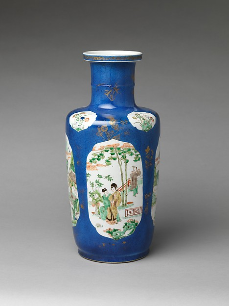 Vase with romantic scenes, Porcelain covered with powdered blue glaze, painted with colored enamels over transparent glaze, and painted with gold (Jingdezhen ware), China