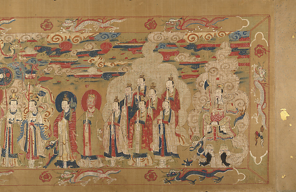 Investiture of a Daoist Deity, Unidentified Artist, Handscroll; ink color, and gold on silk, China