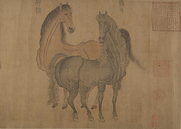 Eight Horses, Attributed to Zhao Mengfu (Chinese, 1254–1322), Handscroll; ink and color on silk, China