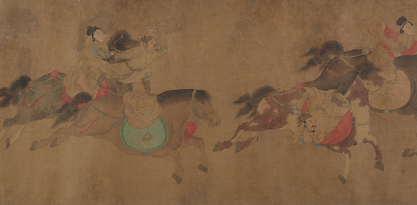 Mongol Circus, Unidentified Artist Chinese, Handscroll; ink and color on silk, China