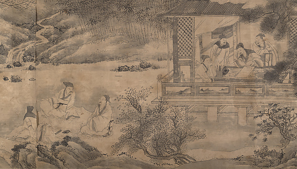 Poets Gathering in the Orchid Pavilion, Qian Gong, Handscroll; ink wash on silk brocade, China