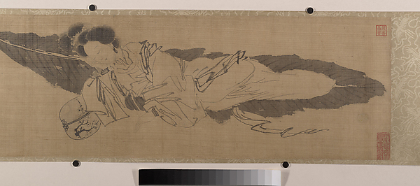 Beauty Sleeping on a Banana Leaf, Attributed to Tang Yin (Chinese, 1470–1524), Handscroll; ink on silk, China