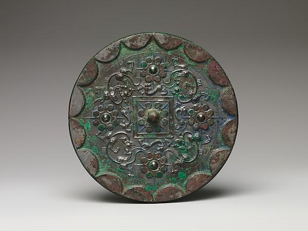 Mirror with Nipple and Dragon Design, Bronze, China