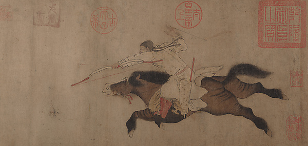 Stag Hunt, Attributed to Huang Zongdao (Chinese, active ca. 1120), Handscroll; ink and color on paper, China