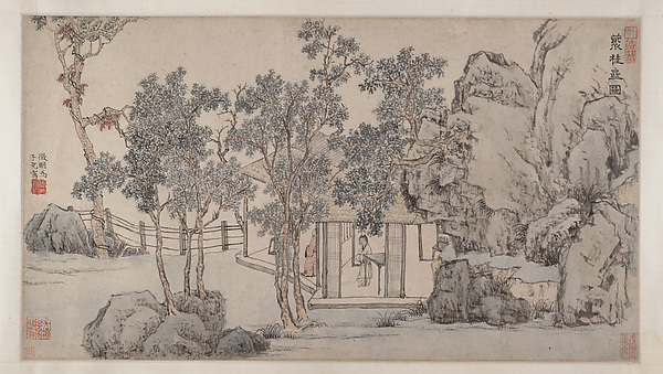 The Cassia Grove Studio, Wen Zhengming (Chinese, 1470–1559), Handscroll; ink and color on paper, China