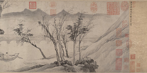 Farewell at the Bridge of the Hanging Rainbow, After Tang Yin (Chinese, 1470–1524), Handscroll; ink on paper, China