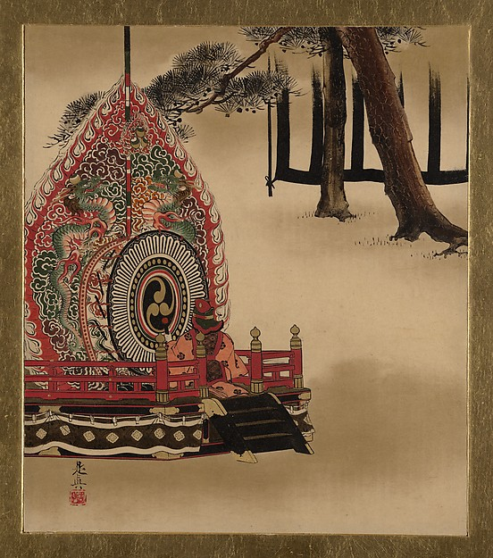 Lacquer Paintings of Various Subjects: Drum for Gagaku Dance, Shibata Zeshin (Japanese, 1807–1891), Lacquer on paper, Japan