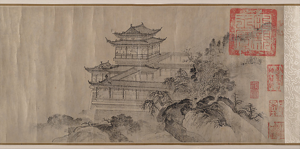 The Pavilion of Prince Teng, Tang Di (Chinese, ca. 1287–1355), Handscroll; ink on paper, China