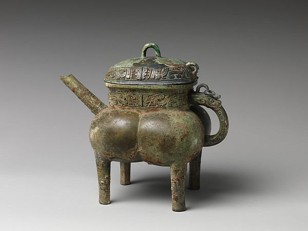 Spouted Wine Vessel (He), Yin Lingde (Chinese), Bronze with green patina, China