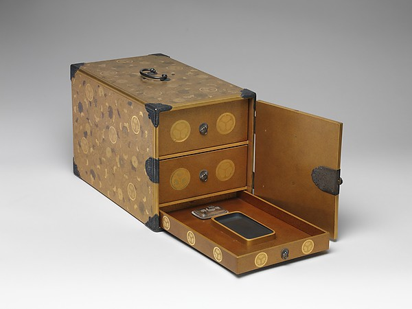 Portable Writing Cabinet with Tokugawa Family Crests, Chrysanthemums, and Foliage Scrolls, Kōami School, Lacquered wood with gold and silver takamaki-e, hiramaki-e, and applied gold foil on nashiji ground, Japan