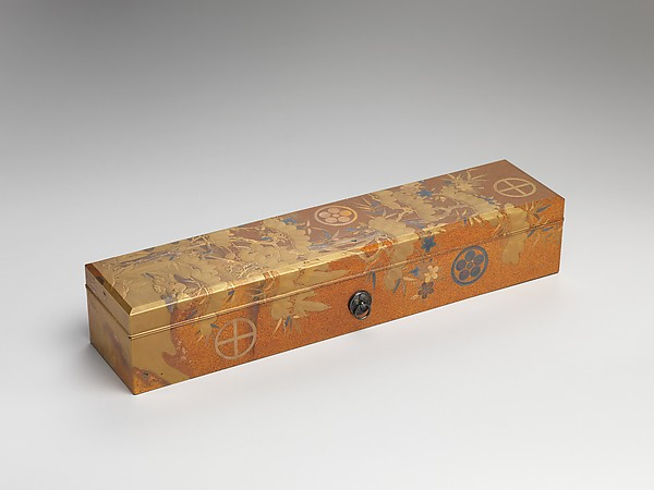 Box with Design of Pine, Bamboo, and Cherry Blossom, Sprinkled gold on lacquer (maki-e), Japan