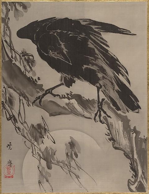 Crow and the Moon, Kawanabe Kyōsai (Japanese, 1831–1889), Album leaf; ink and color on silk, Japan