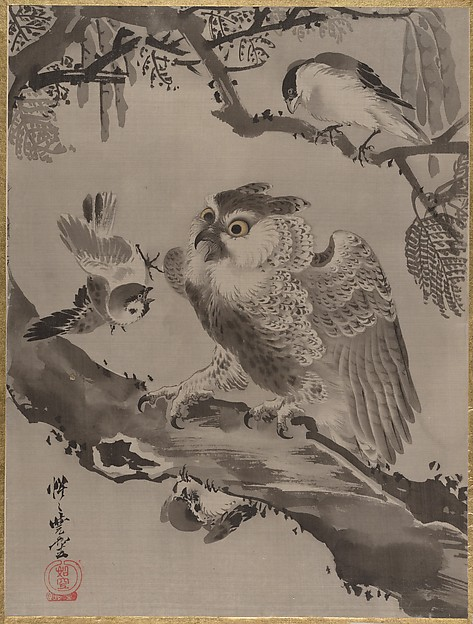Owl Mocked by Small Birds, Kawanabe Kyōsai (Japanese, 1831–1889), Album leaf; ink and color on silk, Japan