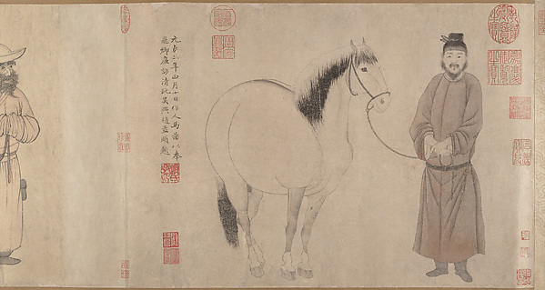 Grooms and Horses, Zhao Mengfu (Chinese, 1254–1322), Handscroll; ink and color on paper, China