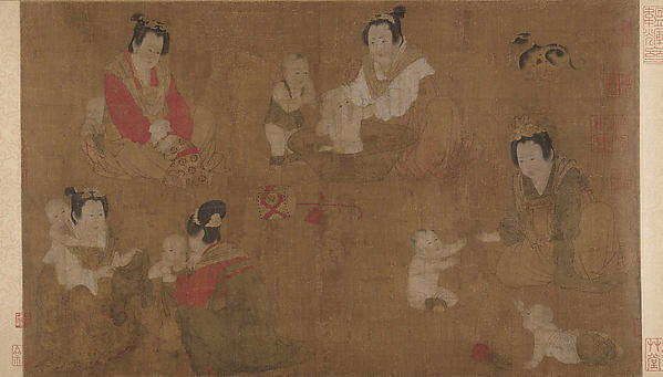 Palace Ladies Bathing Children, Unidentified Artist, Handscroll; ink and color on silk, China