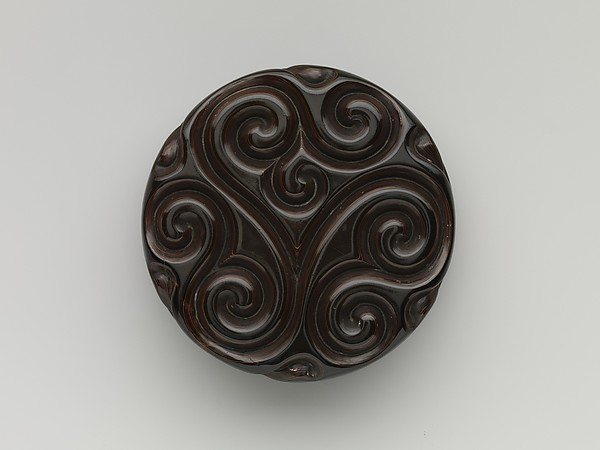 Incense box with fragrant grass design, Carved black, red, and yellow lacquer, China