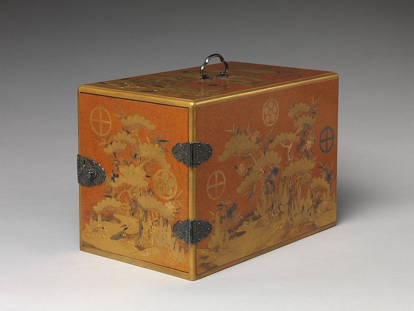 Cabinet with Design of Pine, Bamboo, and Cherry Blossom, Sprinkled gold on lacquer (maki-e), Japan