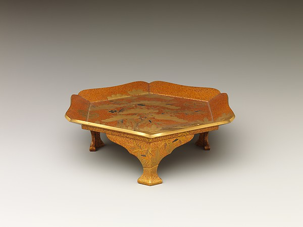 Tray with Design of Pine, Bamboo, and Cherry Blossom, Sprinkled gold on lacquer (maki-e), Japan