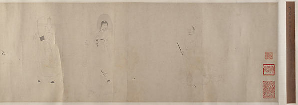 Eighteen Luohans, Ding Yunpeng (Chinese, 1547–after 1621), Handscroll; ink on paper, China