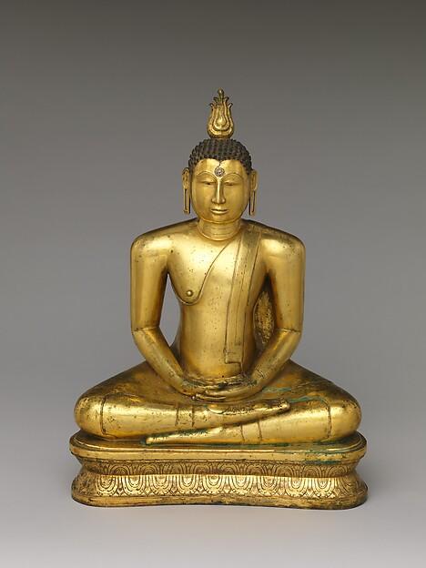 Buddha Seated in Meditation, Copper alloy with gilding, Sri Lanka. western regions