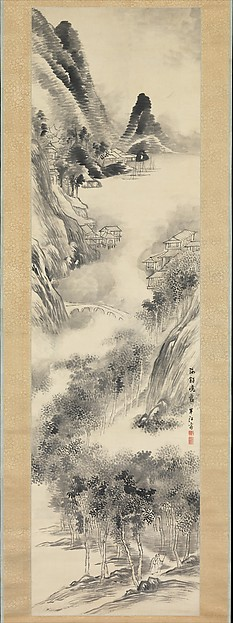 Misty Dawn at the Seashore, Okada Hankō (Japanese, 1782–1846), Hanging scroll; ink and color on paper, Japan