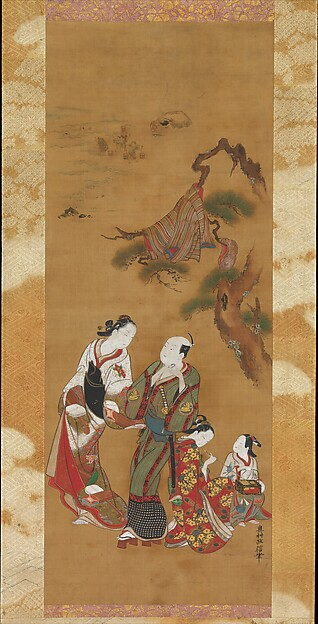 Yukihira and Two Brinemaidens at Suma, Okumura Masanobu (Japanese, 1686–1764), Hanging scroll; ink and color on silk, Japan