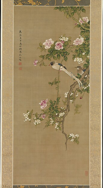 Flowers and Birds, Shen Quan (Chinese, 1682–after 1762), Hanging scroll; ink and color on silk, China