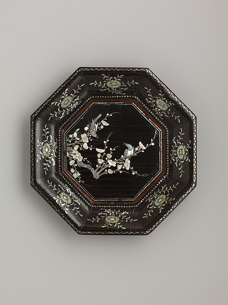 Dish with Flowering Plum and Birds, Black lacquer with mother-of-pearl inlay, China