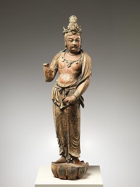 Bodhisattva Avalokiteshvara (Guanyin), Wood (wiillow) with traces of pigment; single woodblock construction, China