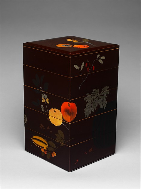 Tiered Food Box with Summer and Autumn Fruits, Shibata Zeshin (Japanese, 1807–1891), Brown lacquer with gold, silver, and colored lacquer maki-e, Japan
