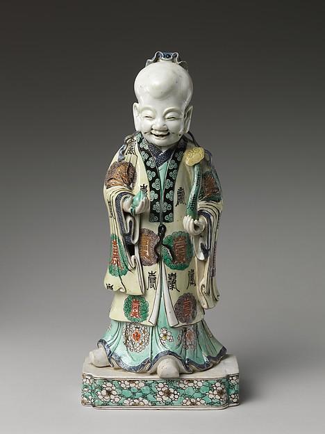 Shoulao, God of Longevity, Porcelain painted in overglaze enamels, China