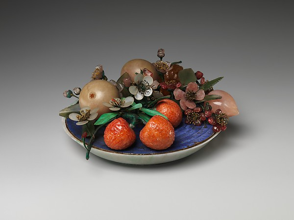 Dish of Fruit and Peach Blossoms, Jade (jadeite) and various stones, amber, glass, bone, and feathers, China