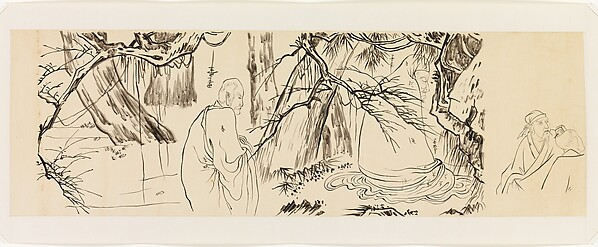 """Bodhidharma and Luohans, after Liang Kai's """"Eight Eminent Monks"""", Xie Zhiliu (Chinese, 1910–1997), Drawing; ink on transparent paper, China"""