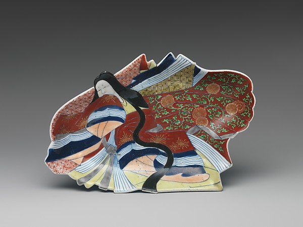 Dish in the Shape of a Princess, Porcelain with underglaze blue and overglaze enamels (Arita ware, Ko Imari type), Japan
