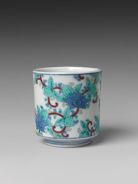 One of Three Cups with Floral Designs, from a Set of Twenty, Porcelain with underglaze blue and overglaze enamels (Hizen ware, Nabeshima type), Japan