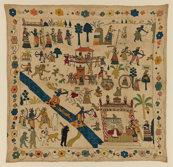 Rumal with Scenes from the Ramayana, Cotton with silk, tinsel, and metal embroidery, India (Jammu and Kashmir, Chamba)