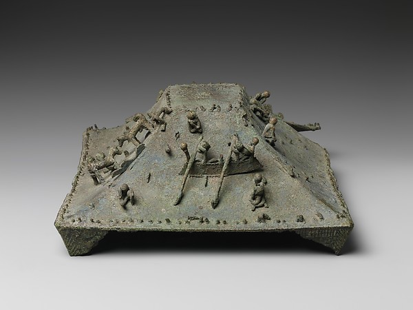 Lid with Figurative Scenes, Bronze, Indonesia (Java, Majapahit?)