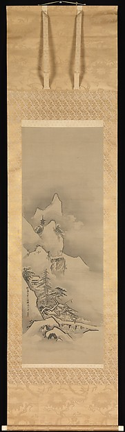 Winter Landscape, Kano Tan'yū (Japanese, 1602–1674), One from a set of three hanging scrolls; ink and color on silk, Japan