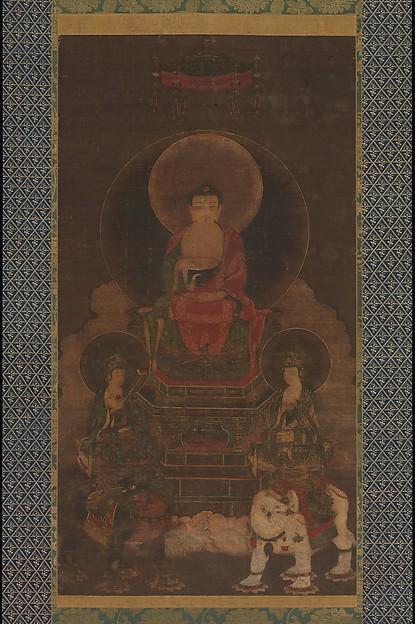 Shaka (Shakyamuni) Triad, Hanging scroll; ink, color, and gold on silk, Japan