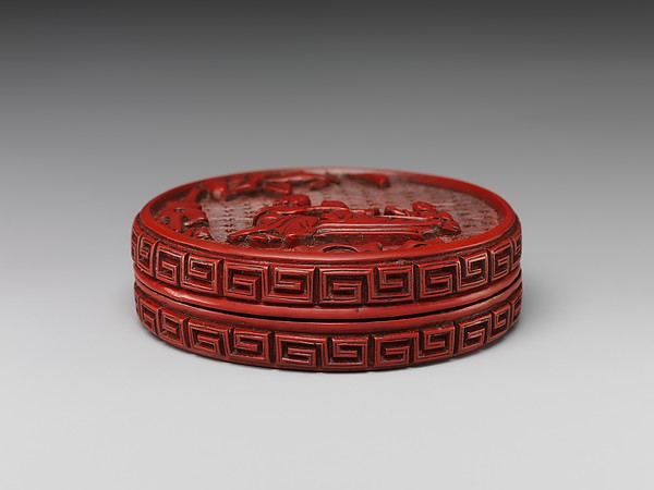 Box with Scene of Bathing Children, Carved red lacquer, China