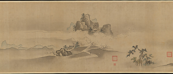 Landscape of China: Eight Views of the Xiao and Xiang Rivers, Kano Tsunenobu (Japanese, 1636–1713), Handscroll; ink and color on paper, Japan