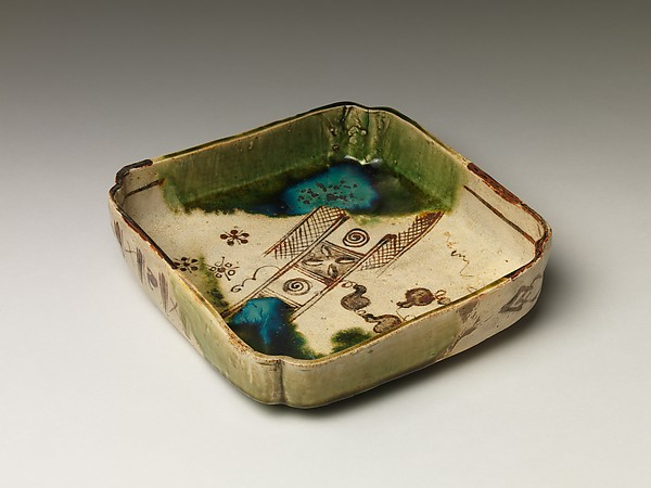 Square Dish with Abstract Motifs, Shuntai (Japanese, 1799–1878), Glazed stoneware (Seto ware, Oribe Revival type), Japan
