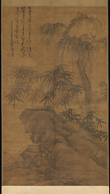 Bamboo, old tree, and rock, Wu Zhen (Chinese, 1280–1354), Hanging scroll; ink on silk, China