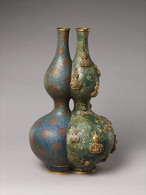 Double Vase, Cloisonné enamel on copper, China