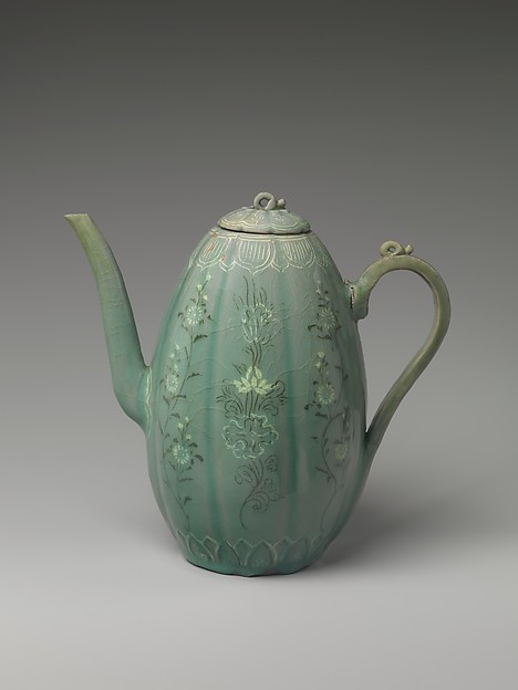 Wine Ewer with Chrysanthemums and Lotus Flowers, Stoneware with inlaid decoration under celadon glaze, Korea